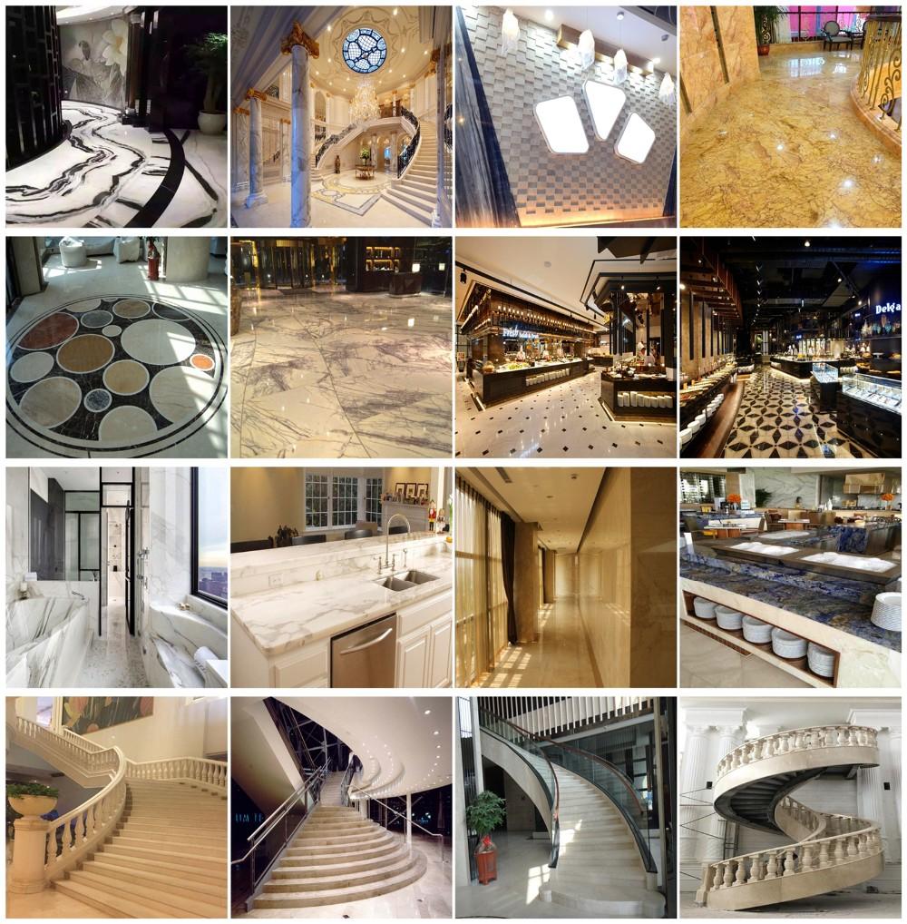 hotel lobby luxury decor water jet marble tiles floor decoration
