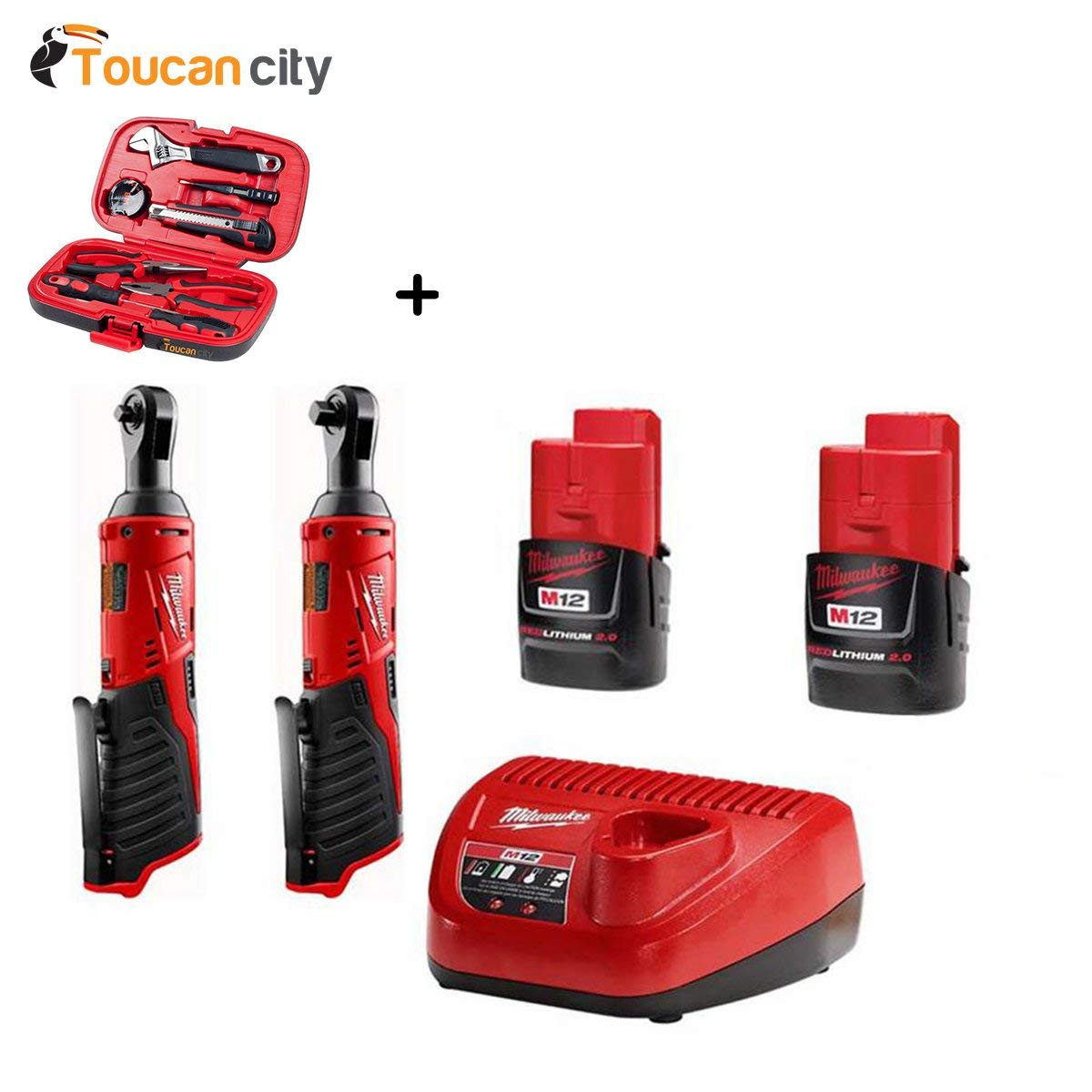 """Milwaukee M12 12-Volt Lithium-Ion Cordless 1/4"""" Ratchet and 3/8"""" Ratchet Combo Kit (2-Tool) W/ (2) 2.0Ah Batteries 2456-20-2457-20-48-59-2420-48-11-2420 and Toucan City Tool Kit (9-Piece)"""