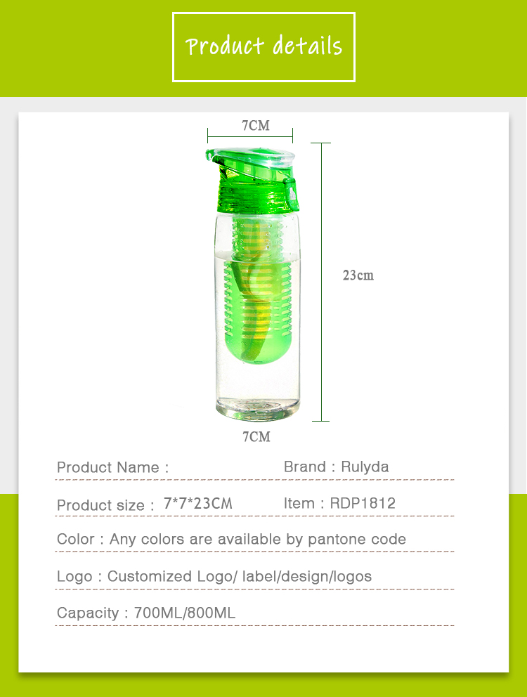 32 oz wholesale top selling colorful insulated water bottle fruit infuser