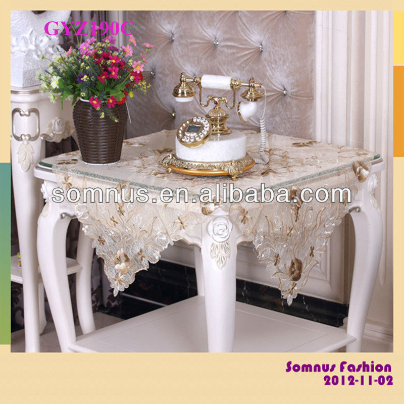 "Somnus Fashion 2013 Embroidery PVC Table Cover 100% Polyester Glitter Table Cloth 16""*36"" 36""*36"" 40""*60"" 60""*90"""