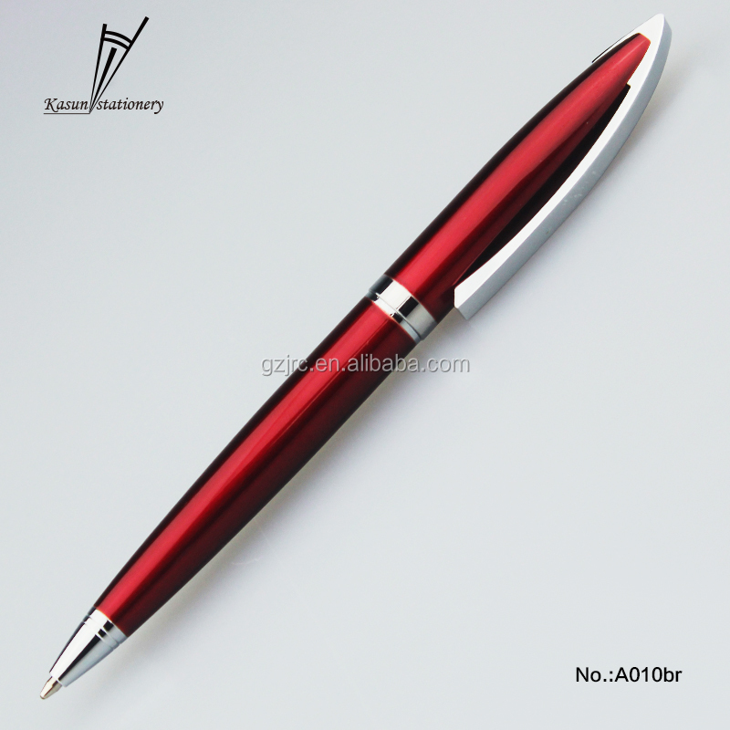red chinese writing metal ball pen with parder refill