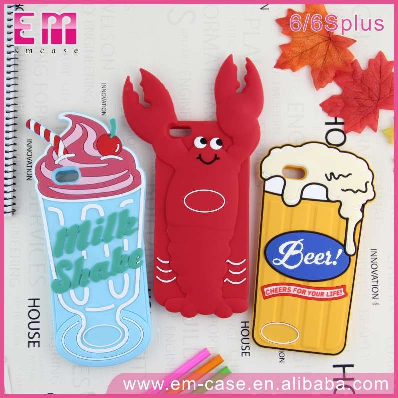 Newest Beer Silicon Rubber 3D Mobile Phone Case For iPhone 6 6S Plus