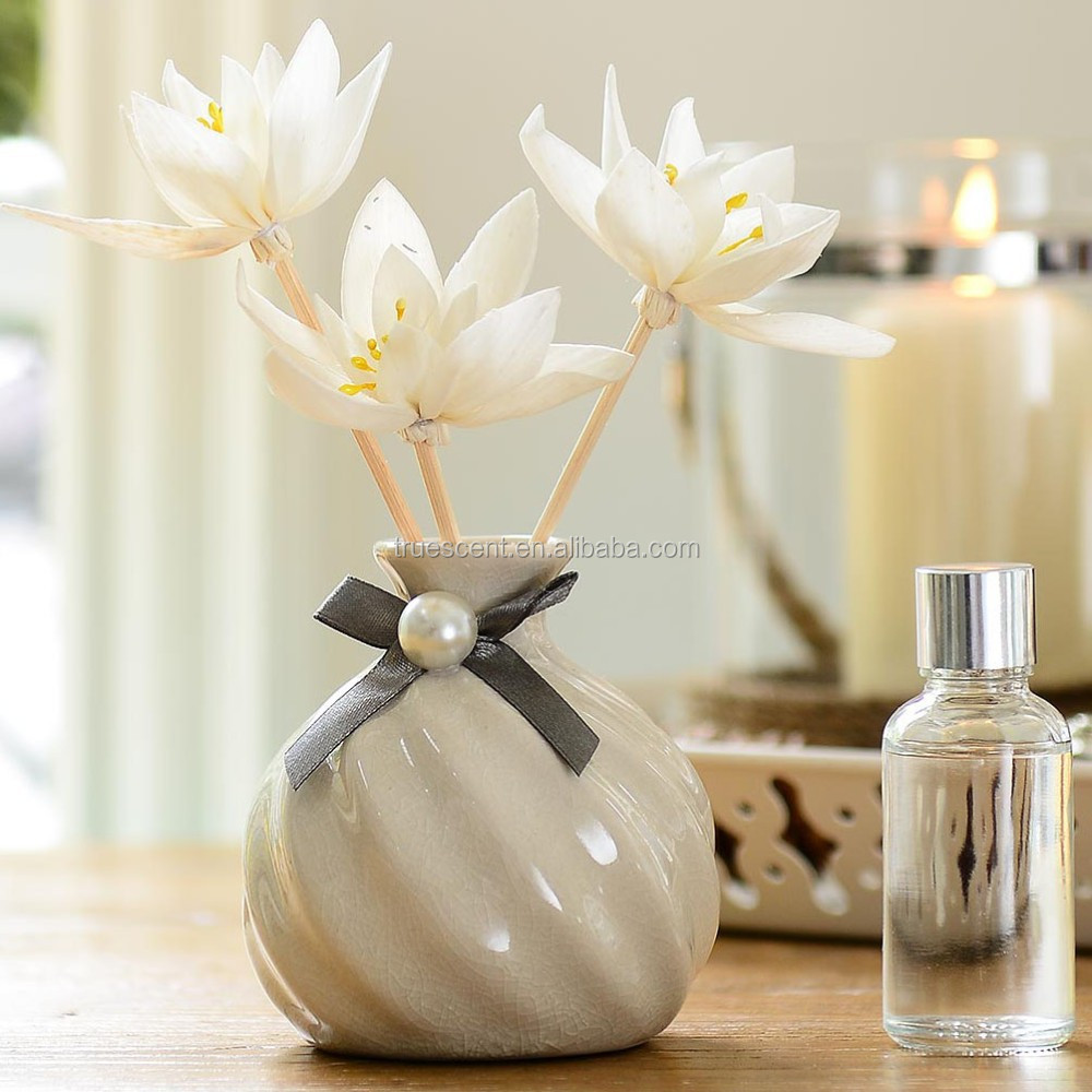 Twisted -fibred Ceramic Vase Flower Diffuser Bottle with Sola Flower TS-FD92
