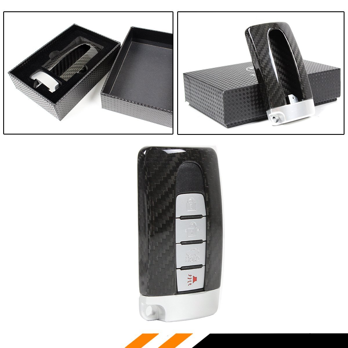 REAL CARBON FIBER GTR STYLE CASE COVER WITH SILVER BASE FOR INFINITI SMART KEY FOB