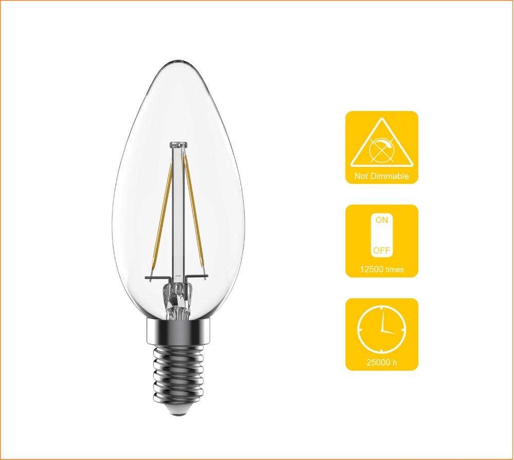 4 Watt Led B35 E14 Filament Candle Light Bulbs - 30 Watt ...