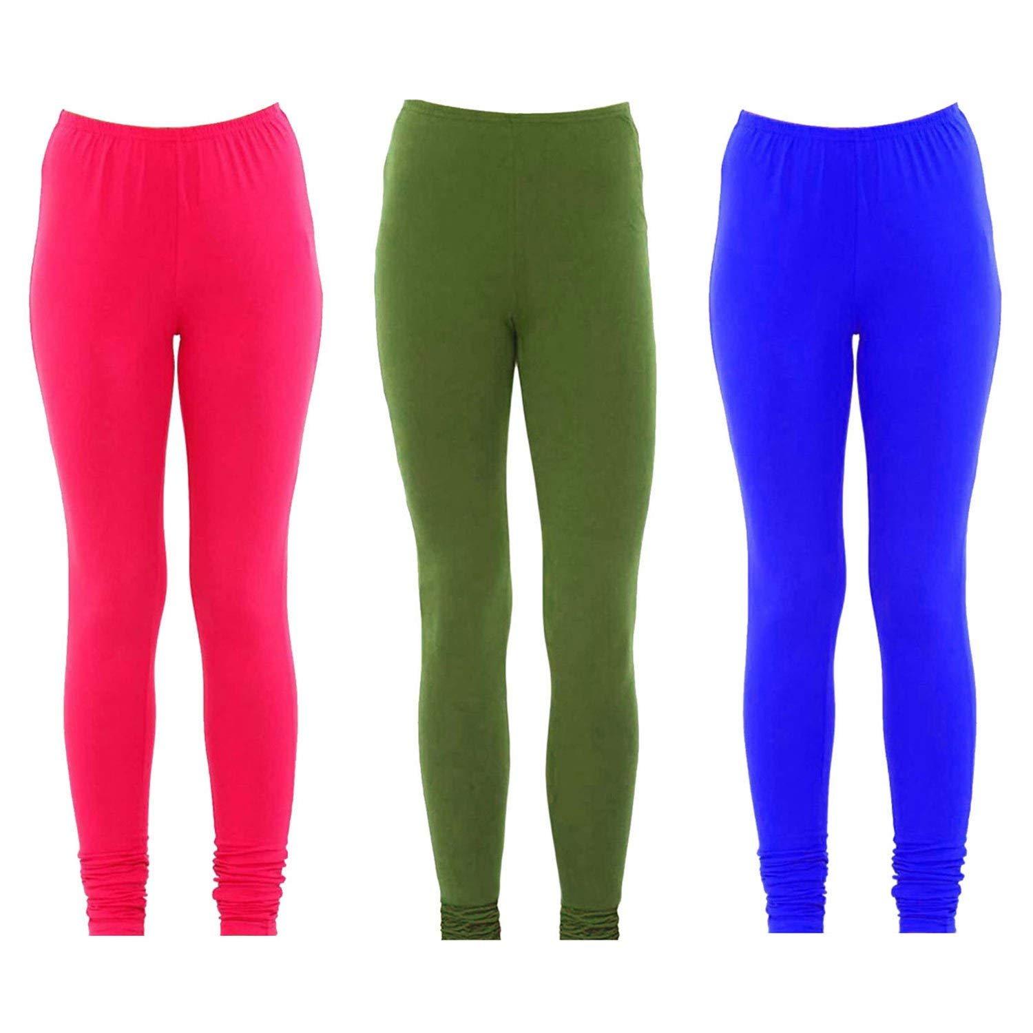 Set of 3 Pink, Green and Royal Blue Women's Solid Lycra Fabric Stretchable Workout Yoga Pants Designer Leggings