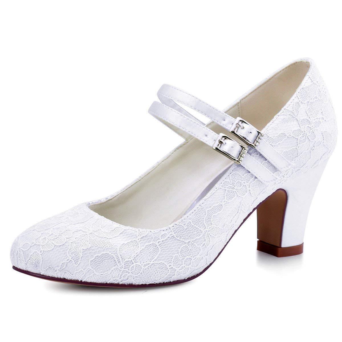 15ef03ef6 Get Quotations · ElegantPark HC1708 Women Mary Jane Block Heel Pumps Closed  Toe Lace Bridal Wedding Shoes