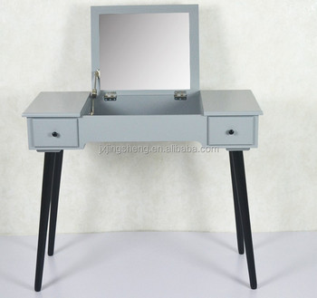 Scandinavian Style Folding Grey Painting Mirrored Dressing Table With 2 Side Drawers