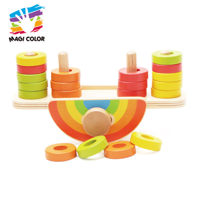 Wholesale educational animals wooden balance toy for baby W11F086