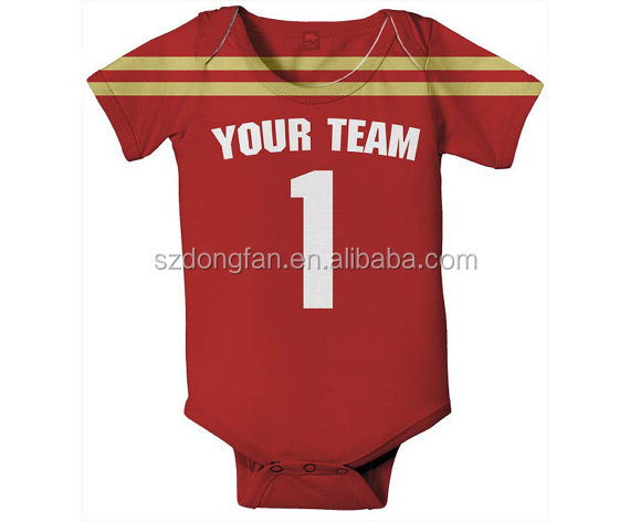 Customizable oem factory football baby bodysuit infant romper one piece