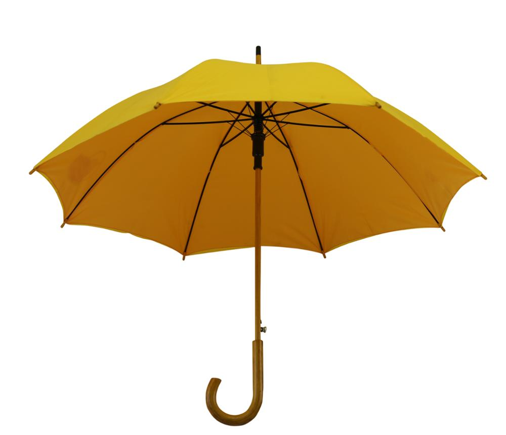 Good quality wooden shaft straight automatic umbrella with custom logo for advertising
