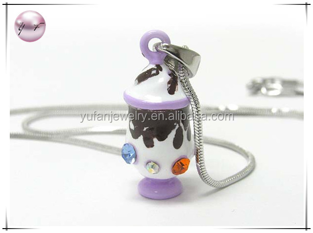 White gold plating and metal epoxy crystal stud miniature ice cream pendant necklace
