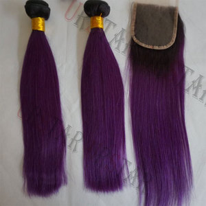 brazilian human straight bundles 100% human hair weft 8a grade customized ombre purple blue pink brown 613 color remy hair weave