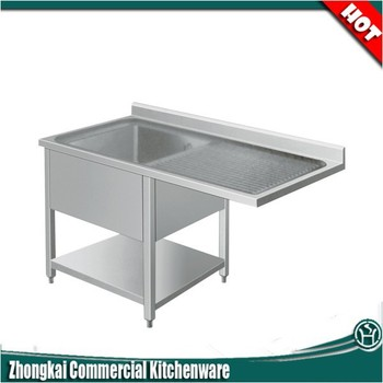 Catering Industrial/customized Size Stainless Steel Sink With Drainboard  And Splashback