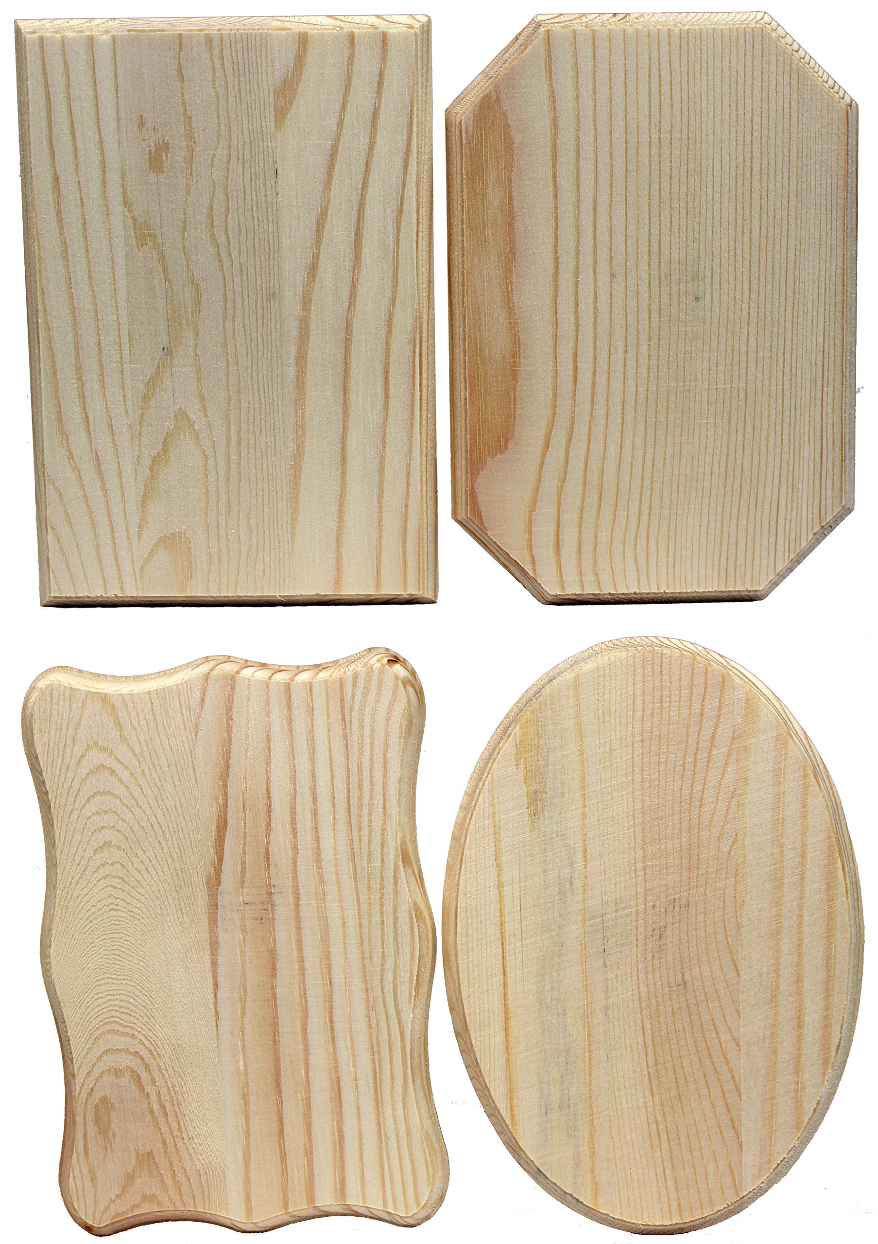 Creative Hobbies® Unfinished Wood Plaques, 6.5 Inch x 4.5 Inch, 4 Assorted Shapes