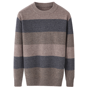 Wholesale striped merino wool crew neck men knitwear