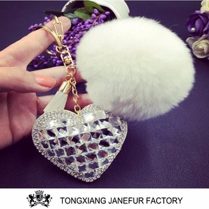 Hand bag decoration diamond heart keychain with pom pom