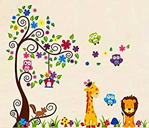 Nursery Forest Animal Wall Decals, Nursery Wall Decals, Giraffe Wall Stickers, Owl Wall Stickers, Lion Wall Stickers, Nursery Wall Stickers