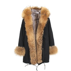 2019 New Style Fashion Raccoon Womens Coat Winter Fur Parka