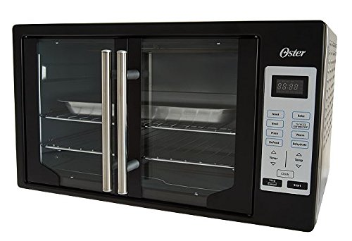 Oster Convection Digital French Door Oven Black with Stainless Steel Back Cover