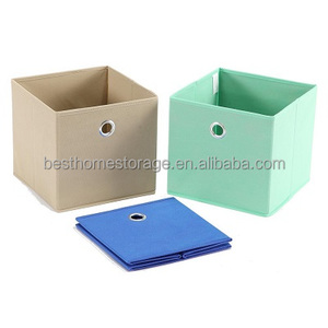 3 Pack Non-woven Fabric Storage Cubes, Large Capacity Boxes For Clothes,Books,Toys,Aqua,Blue And Gray