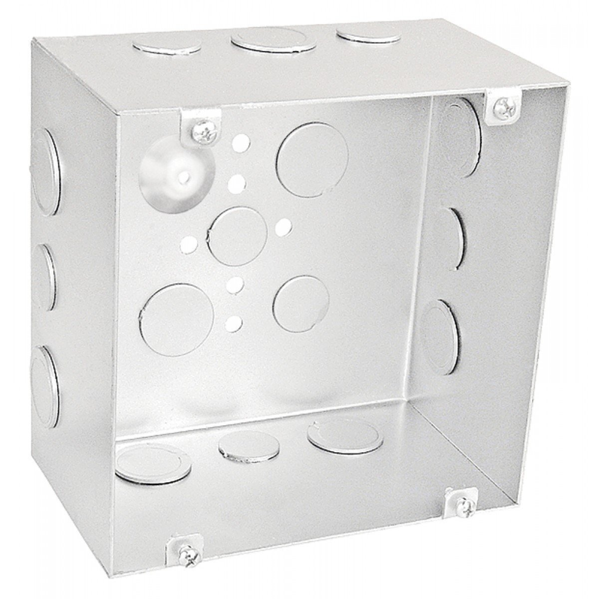 1 Pc, 6 Square Junction Box, 3-1/2 In.Deep, (6) 1/2 In. & (6) 1/2-3/4 In. Side Knockouts; (2) 1/2 In. & (2) 3/4 In. Bottom Knockouts w/Ground Hump, Zinc Plated Steel