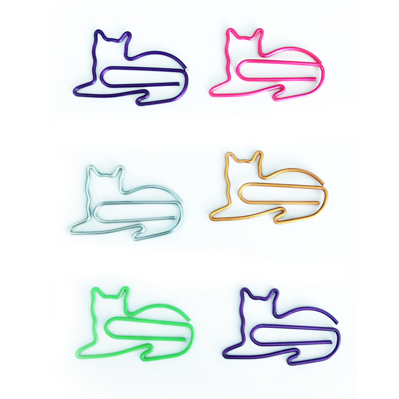 Personalized promo custom logo metal shaped cat metal paper clip