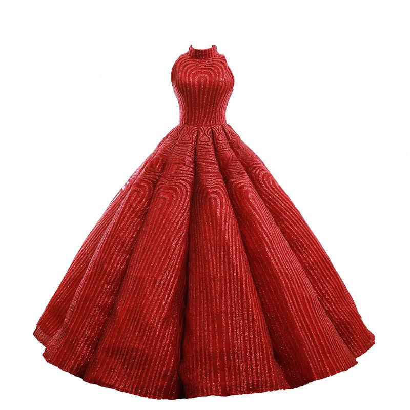 d726916875e7f2 Rode Baljurk Prom Dress High Neck Lace Glitter Sequin Lange Avondjurken  2018 Sweet 16 Jurken
