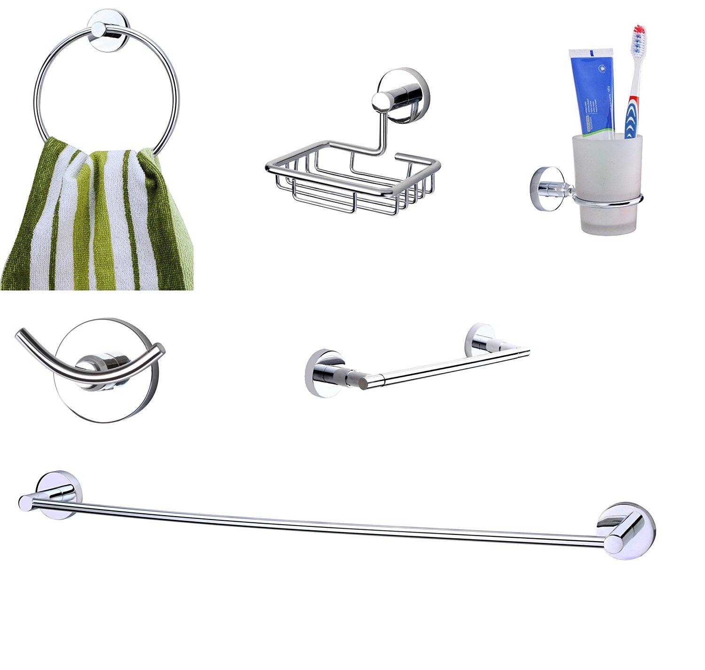 KRM Moonstone Towel Ring+ Soap Dish+Tumbler Holder+Robe Hook+Grab Bar+Towel Rod - Pure Brass