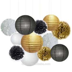 UMISS 12PCS Mixed Black Gold White Wedding Birthday Baby Shower Party Decoration, Tissue Paper Pom Poms, Hanging Paper Lanterns
