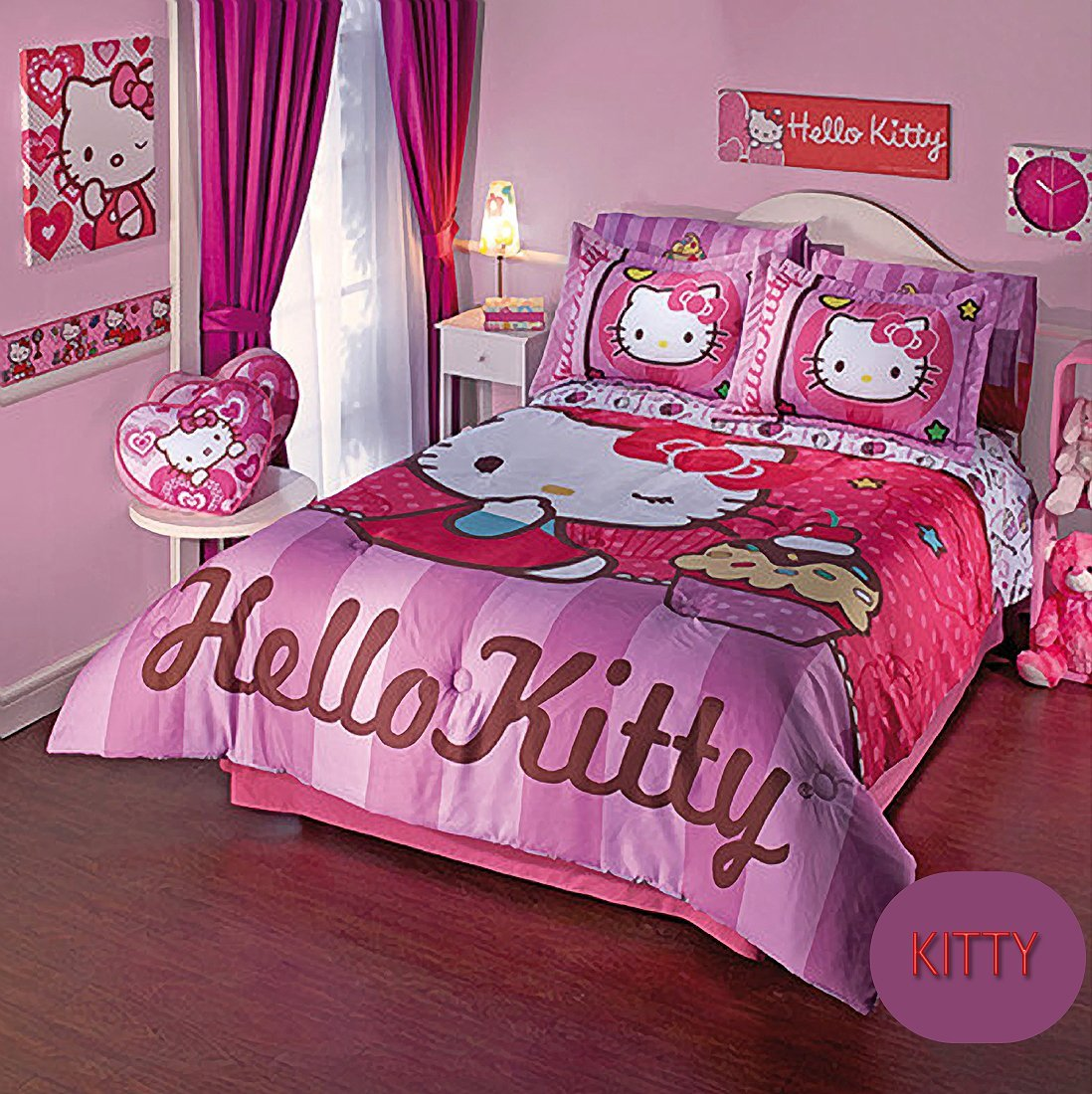 4a95f2cac Get Quotations · Hello Kitty Cupcake Reversible Comforter Set 4 Pcs. / Ind.  - Twin