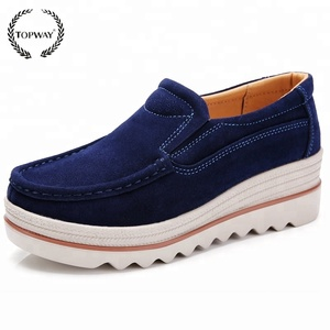 2018 new women cow suede round toe platform casual women loafer shoes
