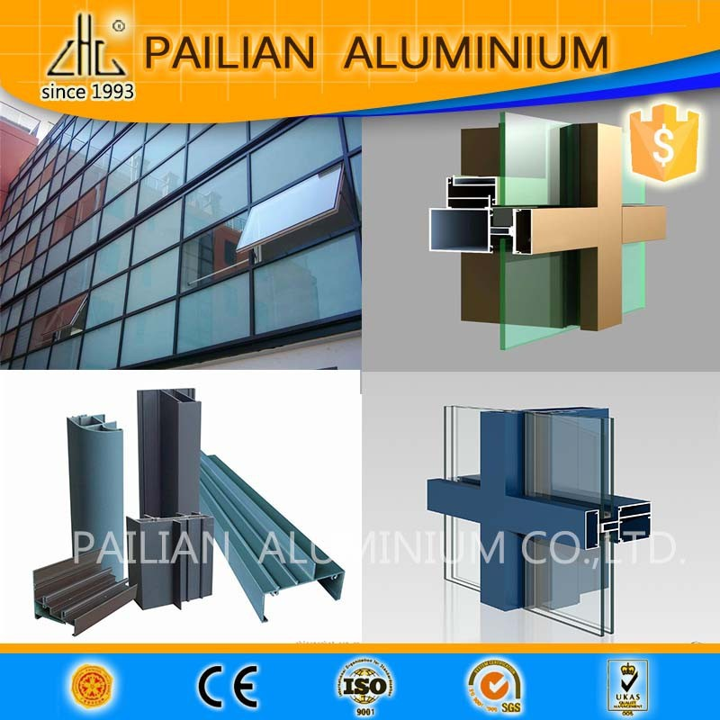 Pailian architectural glass walls aluminium,mirror glass curtain wall profile,profile aluminum profiles for glass in china