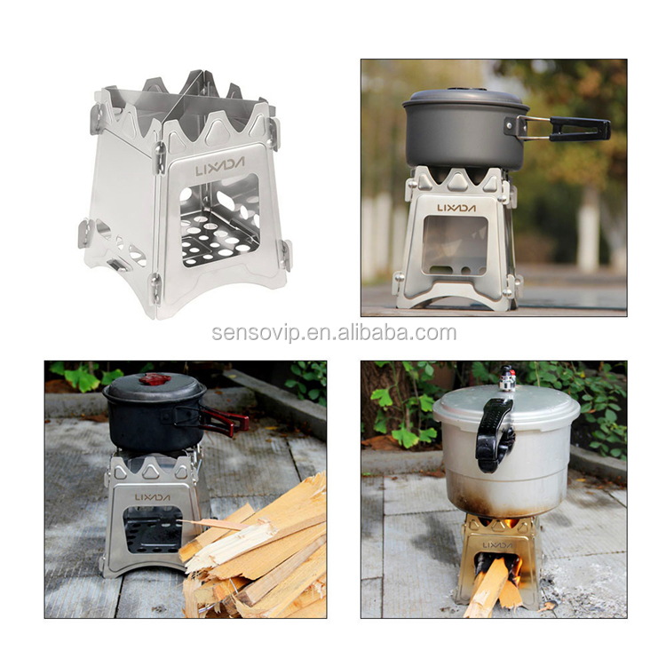 Compact Folding Titanium Wood Stove Outdoor Camping Stove Portable  Picnic Cooking Wood Furnace Burners