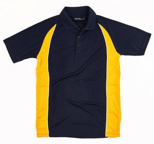 blank yellow and black polo shirt uniform