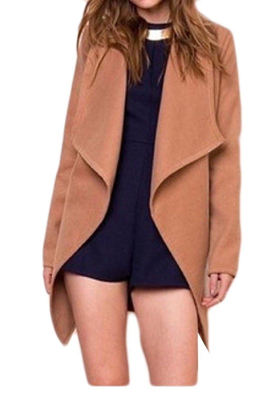 Zimaes-Women All-Match Trench Coat Midi Length Solid Color Coat Pea Coat