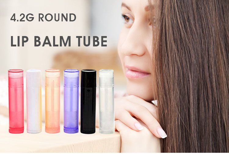 L02 4.2g lip balm tubo oval eco friendly mini cor lip balm tubo recipiente redondo de plástico