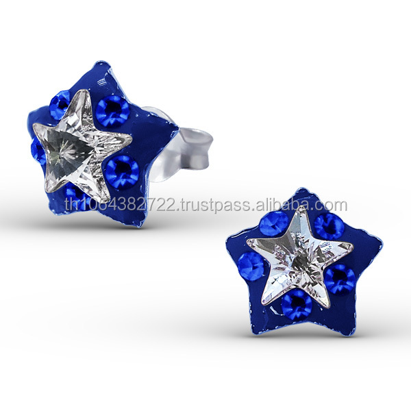 925 Sterling Silver Clear Crystal Star Light Siam Mix Women Body Jewelry Earring Studs