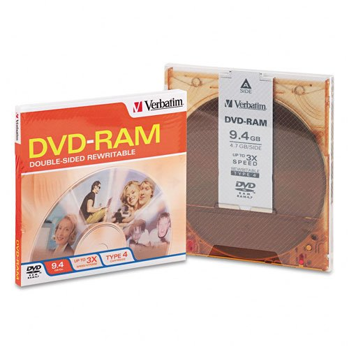 Verbatim : Disc DVD-RAM 9.4GB R/W double sided type 4 removable 1pk 3Xsided type 4 removable 1pk 3X -:- Sold as 2 Packs of - 1 - / - Total of 2 Each
