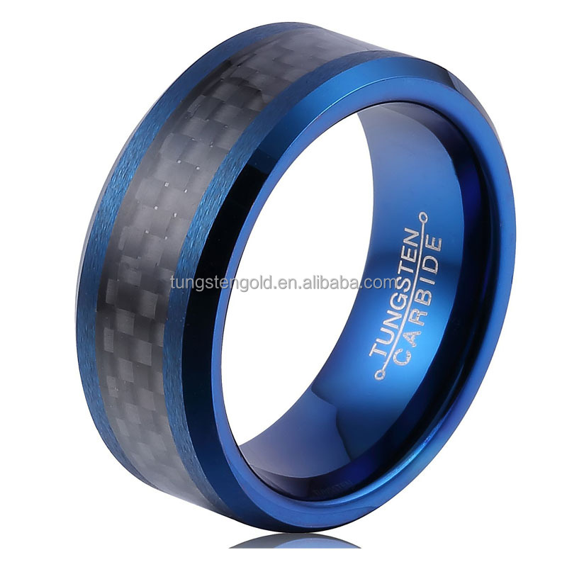 8MM Men's Tungsten Carbide Rings Wedding Band Blue Plated Black Carbon Fiber Inlay and Beveled Edges Rings
