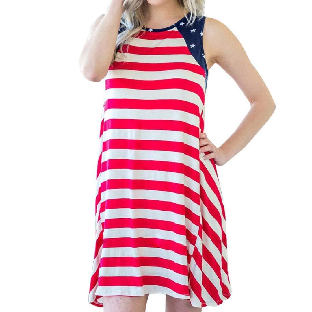 Usstore Dresses For Women, Sleeveless Summer Stripe Print Straight Casual O-Neck Dresses