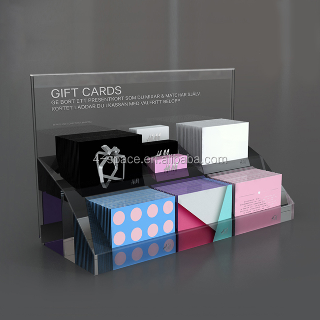 Custom design modieuze retail gift card display stands op winkel