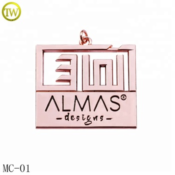 Customized handbag metal logo hang plate tags decorative hang tags