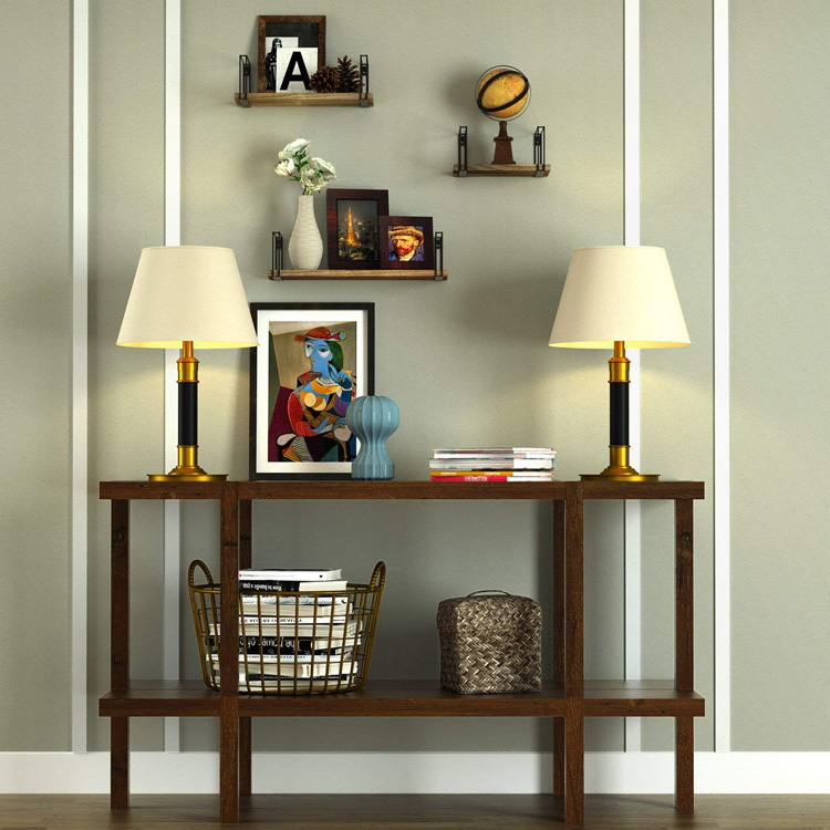 Wall Mount Floating Shelves Rustic Metal Frame  Wooden Storage Shelves for Living Room