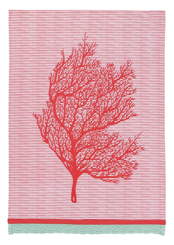 Peking Handicraft Sarah Watts Kitchen Linen Coral Stripes Dish Cloth, Red