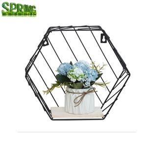 Ins wrought iron hexagon grid wall shelf combination wall hanging living room bedroom geometric figure wall decoration