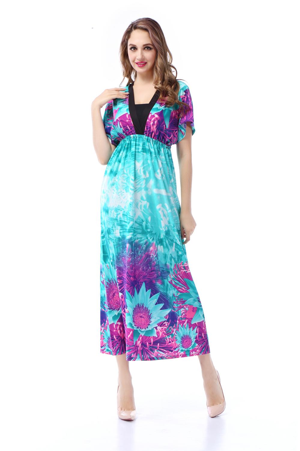 2015 Summer dress V-Neck Plus Size Bohemian Long Maxi ...