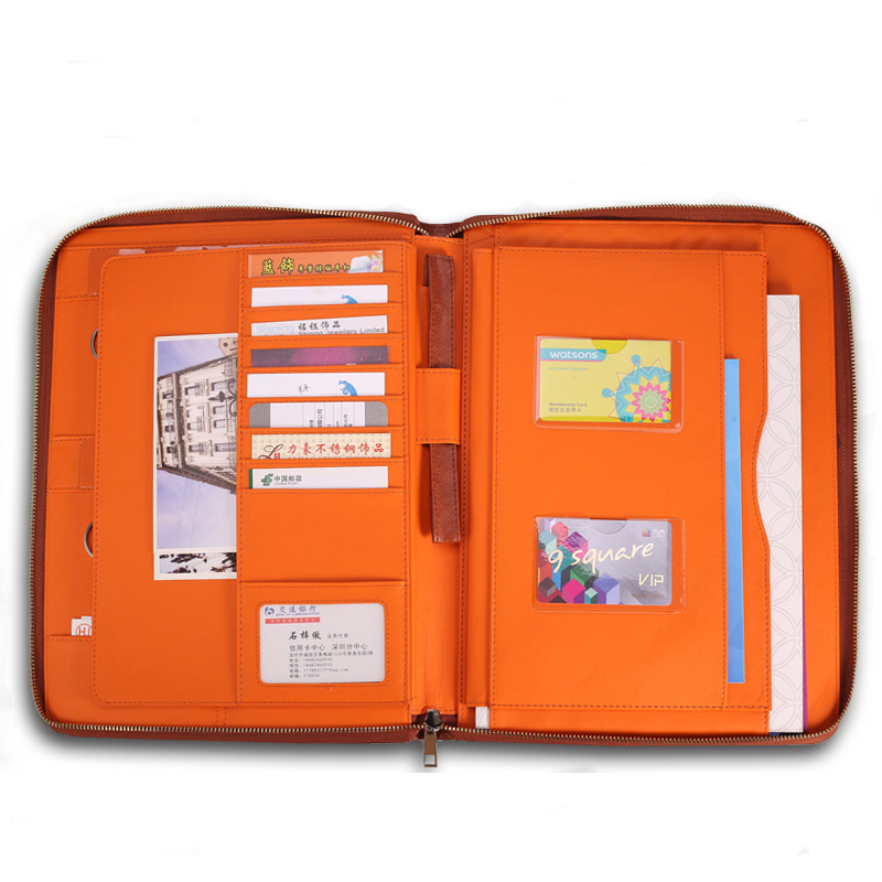 Multifunctionele Sleutel Rings PU Lederen Map Documenten Case Rits Tas A4 Documenten Portfolio