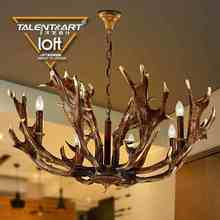 SpringBud Lamp E14*8 Nordic retro style resin + iron loft antlers reproduction candle antique chandelier light lamps