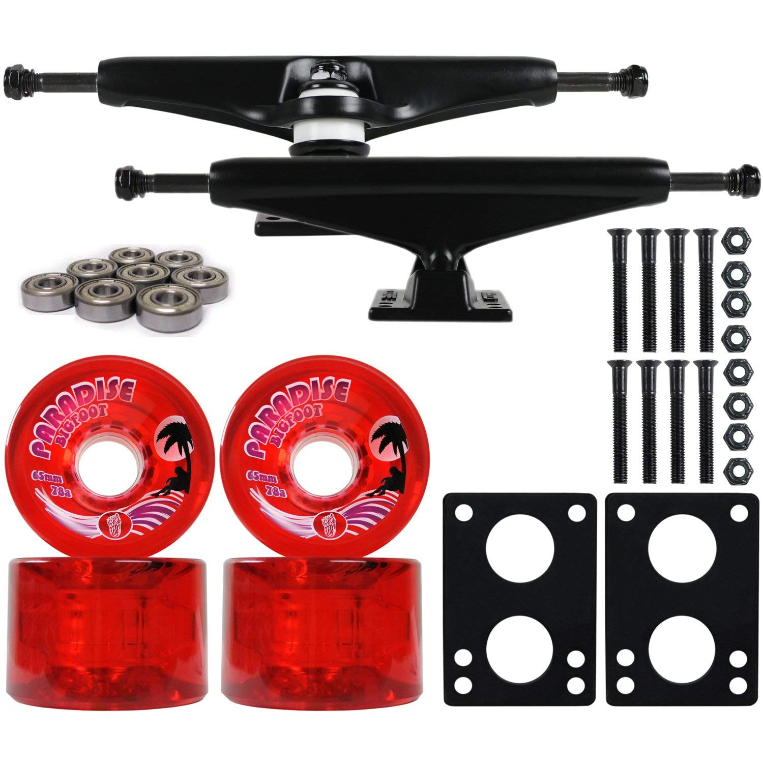 Longboard Skateboard Trucks Combo Set 65mm Bigfoot Islanders Wheels with Black Trucks, Bearings, and Hardware Package